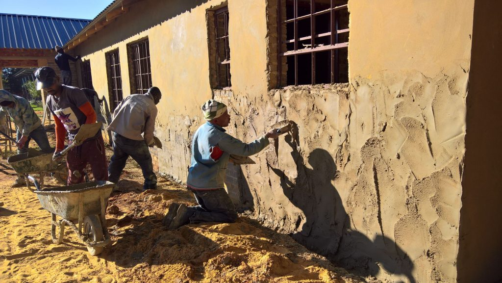 Plastering the outside walls_23
