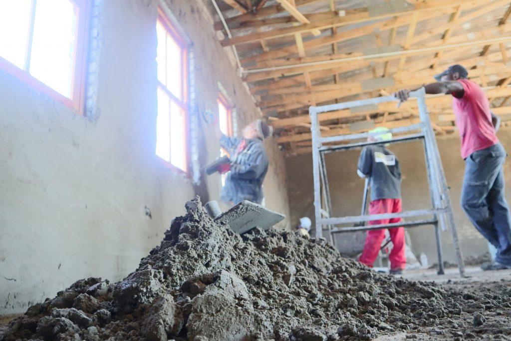 Plastering progress